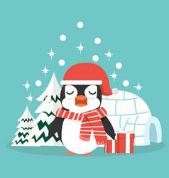 Penguin on winter forest background vector