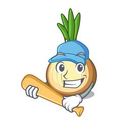 Playing baseball character fresh yellow onion on vector