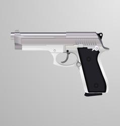 Realistic a silver handgun vector