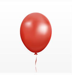 red balloon party baloon with ribbon and s vector image