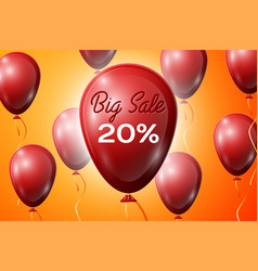 Red balloons with an inscription big sale twenty vector