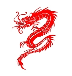 Red paper cut out of a Dragon china zodiac symbols vector