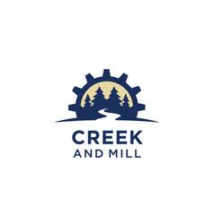 river creek gear mill cog fir pines forest logo vector image