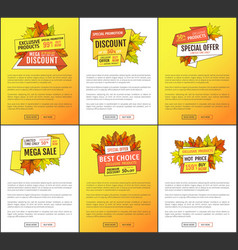 sale adverts with autumnal foliage orange leaves vector image