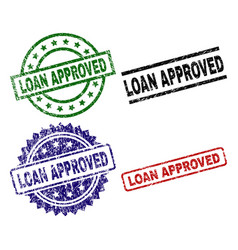 Scratched textured loan approved stamp seals vector