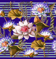 seamless pattern with waterlily hand draw vector image