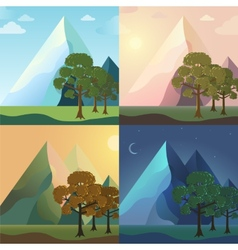 season icon set of nature tree background Tamplate vector image
