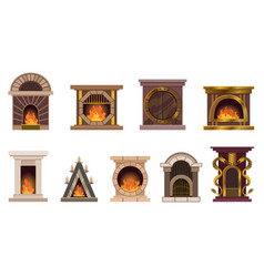 set home fireplaces with fire different vector image