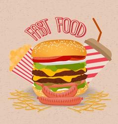Set of fast food with hamburger vector