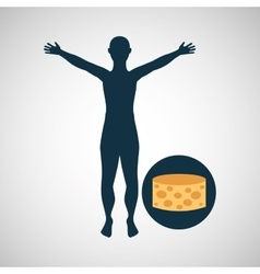 silhouette man cheese food design vector image