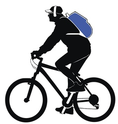 Silhouette of a man with a backpack riding a bicyc vector