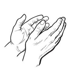 Sketch hand clap her hands bravo vector