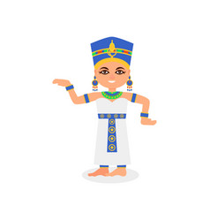 smiling egyptian woman in dancing action queen of vector image