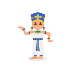 Smiling egyptian woman in dancing action queen vector