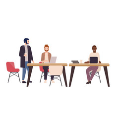 smiling people or office workers sitting at tables vector image