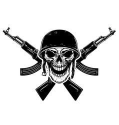 Soldier skull in military helmet and crossed vector