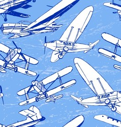 Soviet retro planes seamless pattern vector