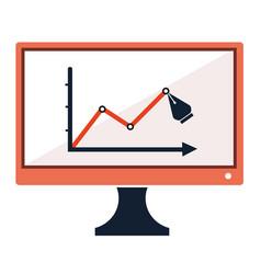 Success chart stats drawing pen on computer screen vector