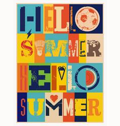 summer typographic grunge vintage poster vector image