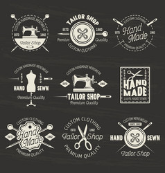 tailor shop light emblems or badges on dark vector image