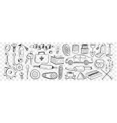 Tools for car repairing doodle set vector
