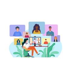 Video conference woman at desk provides vector
