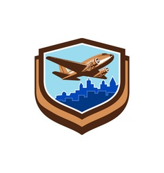 Vintage Airplane Take Off Cityscape Shield Retro vector image