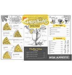 vintage christmas menu design restaurant menu vector image