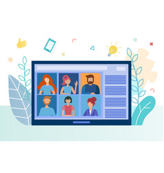 Web conference meeting business training vector