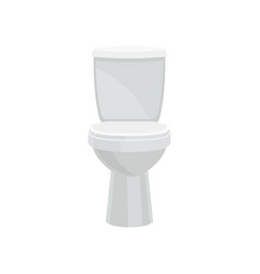 White ceramics closed toilet bowl vector