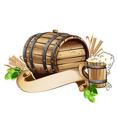 Wooden beer barrel still life vector