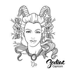 zodiac capricorn as girl vector image