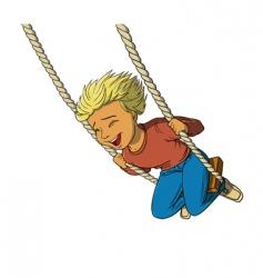 boy on swing vector image vector image