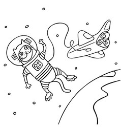 cartoon cat astronaut in black and white colors vector image vector image