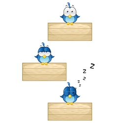 Cute Blue Birds on Wooden Sign Set 1 vector image vector image