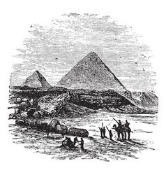 Giza Pyramids vintage engraving vector image
