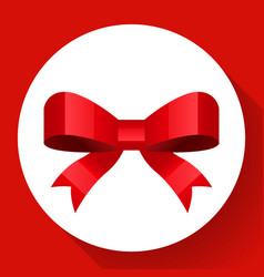 red bow icon flat style vector image vector image