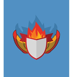 Shield with wings flame and Ribbon Heraldry vector image