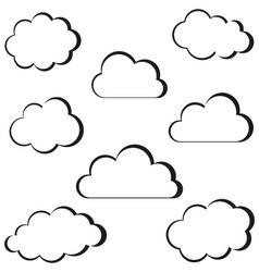 Black clouds outline vector image