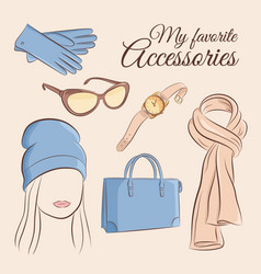 fashion set of a stylish vector image