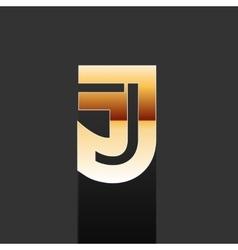 Gold Letter J Shape Logo Element vector image