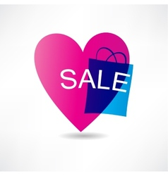 pink heart and sale icon vector image vector image