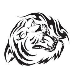 roaring tiger tattoo vintage engraving vector image vector image