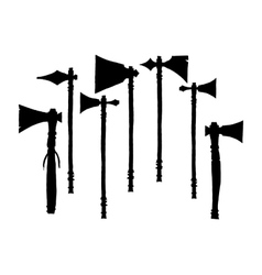 Set of silhouettes american indian tomahawks vector
