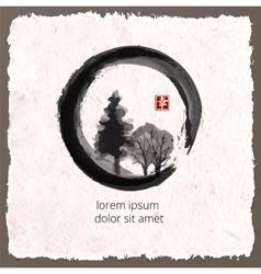 Trees in black enso zen circle vector image
