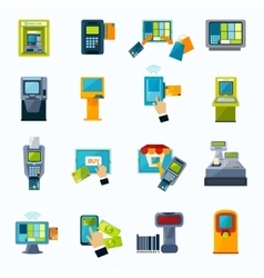 atm payment flat icons set vector image vector image