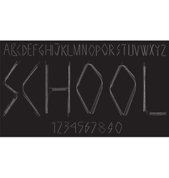 Handwritten alphabet with letters and numbers vector image