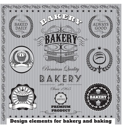 icons for baking and bakery vector image vector image