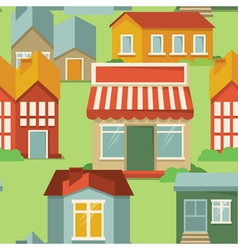 seamless pattern with cartoon houses and buildings vector image vector image
