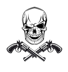 Smiling skull with revolvers vector image